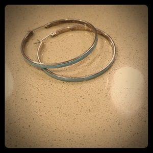 Baby blue hoop earrings